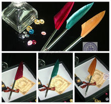 High quality mini feather pen with ink business gift set