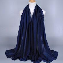 New Design Multicolor Pearl Scarf Women Fashion Scarfs Pure Color 100% Viscose Scarves Pashmina shawls