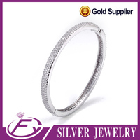 Unique design dolphin shaped AAA cz pave silver 925 bangle