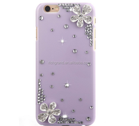 Fashion colorful bling Floral plastic Rhinestone hard back shell cover For iphone 5 5s 6s 6s plus new
