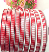Wholesale 6/8'' inch (20mm) handmade DIY bowknot material Garment Accessories Red white Scottish Tartan Plaid Ribbon 50Yds/roll