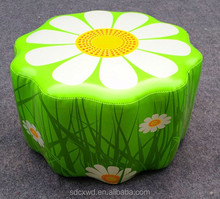 flower design style wooden frame pu kids stool