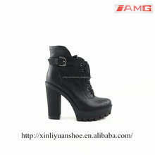 XLYB117 lace up ankle boots brown buckle platform shoes high heel