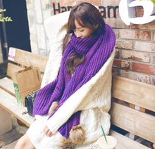 Fashion Queen wool scarf knitting wool shawls with Rabbit hair ball