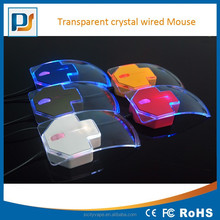3-Buttons Transparent Crystal Wired USB Gaming Mouse Mice 7-Color Breathing LED