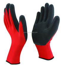 13guage red polyester latex coated working gloves for safety/ film latex coated glove/crinkle latex
