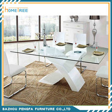 X Shape Modern design High Quality High Gloss and Glass Top Dining table and chairs