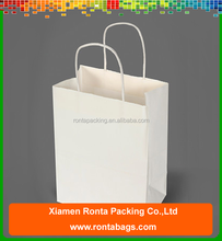 Cheap Custom White Kraft Paper Square Bottom Shopping Bag with Twisted Handles
