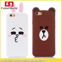 Funny Animal Cases Cartoon Brown Bear Cony Rabbit with ears Soft Silicone Case for iPhone 6 6 Plus 5s 5 Cell Phone Bags Cover