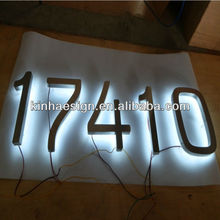 Stainless steel border and face custom led back lit signs