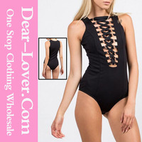 Hot sale sexy photo lingerie Black Lace-up Bust women tight bodysuit