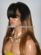 New design latest china 26'' long virgin brazilian hair two tone lace front wig with bangs