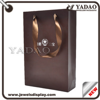 Brown good quality hard paper retail packaging small paper bag with handles