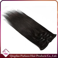 Wholesale clip in hair extension 8-30inch REMY cheap 100% brazilian human hair natural color clip in hair extension
