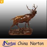 high quality metal cast life size brass deer statues NTBA-DE083S