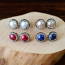 WT-E118 Wholesale round tiny freshwater pearl studs, Fancy women round pearl studs earrings
