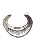 Two-Tone Mixed Chain Layered Necklace, Extender stainless steel chain jewelry