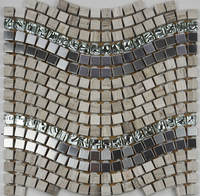 hight quality mixed color glass metal stone mosaic tile