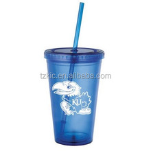 Plastic 16oz Double Wall Kansas Jayhawks Royal Straw Tumbler