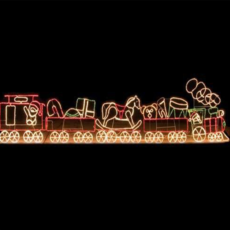 3d outdoor christmas rope light train decoration for lawn decoration
