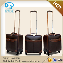 Decent pu leather carry on suitcase luggage wholesale