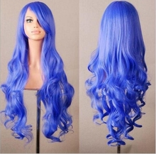 European high quality ladies fancy wig long blue synthetic woman cosplay wigs