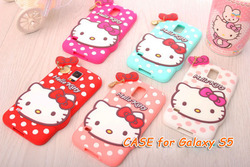 2014 3D Lovely Cute hello kitty Silicon Back Case For Sumsang Galaxy S5 with bowknot Soft Cover