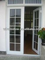 Energy efficient double panel Plastic/Vinyl casement doors,Plastic/Vinyl white opening glass doors with grids insert