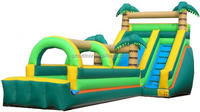 Jumgle theme kids slip N slide ,kids outdoor inflatable playground for sales