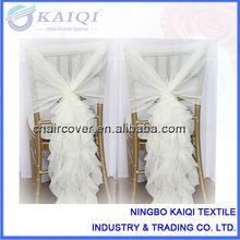 Diseño de moda al por mayor silla barata de la boda de gasa cubre con el marco y el capó
