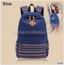 Custom Hot Unisex School Satchel Hiking Bag Bookbag Canvas Backpack bag