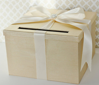 Wedding Card Box Champagne Gold and Pink Money Holder Customizable