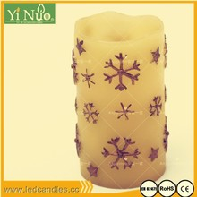Snowflake finish Flameless Outdoor Bisque Resin Candles with Timer