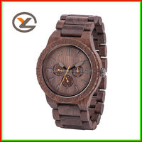 2015 new style for man all wood and three circles wooden dial wrist watch with custom logo