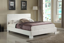 White - Queen Size - Modern Headboard Leather Look Upholstered Bed (MB8007),leather bed room furntiure