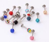LP004 4mm rhinestone ball 4mm flat ends hippie surgical Steel T bar personality titanium lip piercings diamond