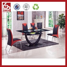 T603 Industrial Modern Glass Top Metal Base table for dining