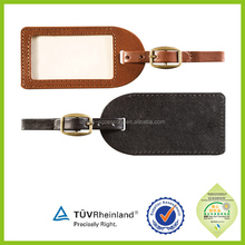 Wholesale hand made New Design Debossed Logo luggage tag in pu