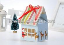 Christmas house Shape decorative wholesale paper cupcake box with window