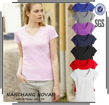 2014 Women Fashion Clothing Casual Slim Fit Tops Summer Blank T-Shirt V-neck Women Clothes