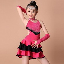 New Fahion Children Colorful Ballroom Party Dancing Clothes Kids Tassel Latin Game Dance Costumes Girls Show Dance Dress
