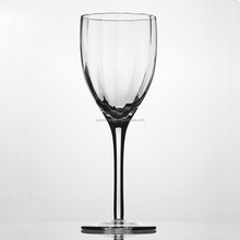 Handmade all clear ribbed wine glass