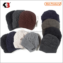 2015 Chic acrylic embroidered knitted men beanies hat wholesale