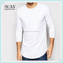 2015 Cotton Men Extra Plain Long line Long Sleeve T Shirt For Man