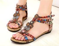 India womens fashion beading sandal new model womens bohemia flat sandal 2014 summer girls fancy sandal