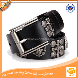 100% Genuine Leather Men Vintage Punk Skull Belt Man Cowhide Rivet Hip Brand Wide Black Belts Mens