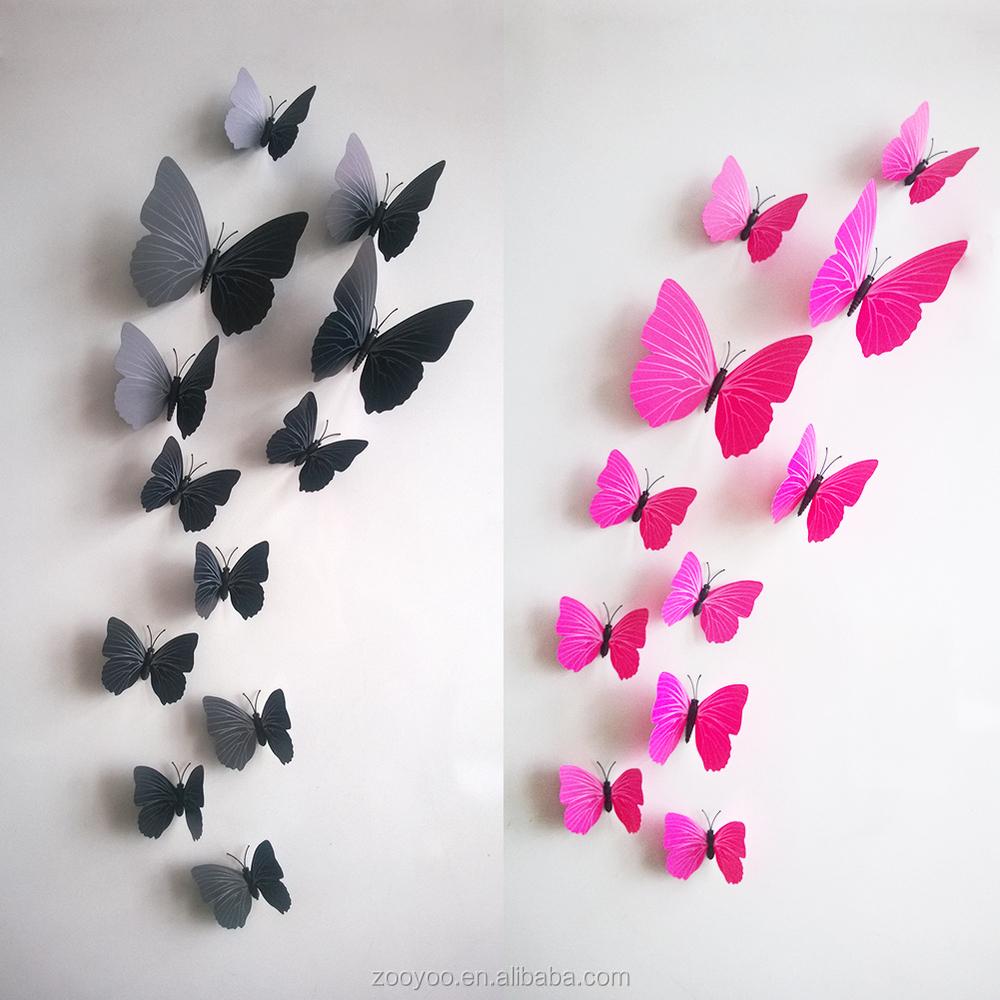Zooyoo 3d vlinder muur sticker home decor sticker art design kamer ...