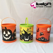 3 assorted Brand New Pumpkin Skull LED Lighted Halloween Buckets