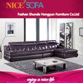 moderna de alta calidad de color marrón negro esquina sofá de cuero a825L