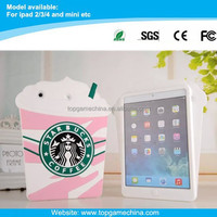 tablet silicone case for iPad2/3/4 starbucks coffee design case